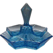 SOLD Indiana Glass Tiara Exclusives Blue Pyramid Relish 4 Part Center handle Tidbit - Red Tag