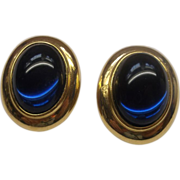 Monet Cobalt Blue Cab Oval Earrings Gold Tone