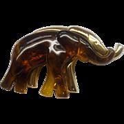 SALE Liz Claiborne Elephants Pair Duo Pin Amber Lucite Gold Tone