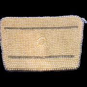 SALE John Wind Pearl Grey Bugle Bead Clutch Vintage