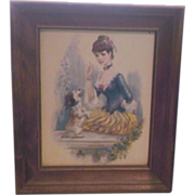 SALE John Strevens Buff Girl Print Girl With Dog Wooden Frame