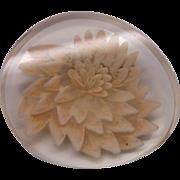 Reverse Carved Lucite Chrysanthemum Pin