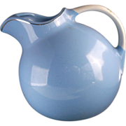 Hall Blue Ball PItcher Royal Rose Pattern Cadet Shape 1940s