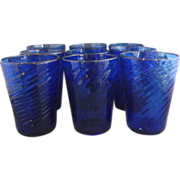 SOLD Cobalt Blue Hand Blown Swirl Glass Tumblers Set of 8