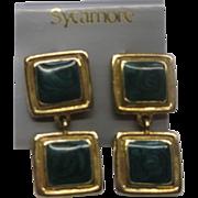 Green Swirl Enamel Gold Tone Square Dangle Earrings