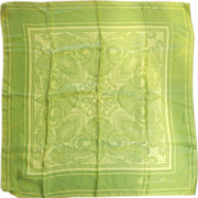 Anne Klein Acid Green Yellow Print Silk Scarf
