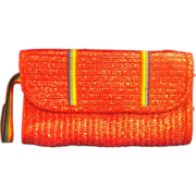 MCI Red Straw Braided Clutch Rainbow Stripe Detail