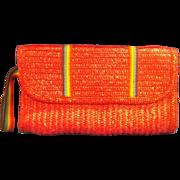 SALE MCI Red Straw Braided Clutch Rainbow Stripe Detail