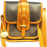 SOLD Dooney & Bourke R124 Vintage All Weather Leather Navy Blue Small Equestrian Pocket Binocu