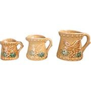 SALE Eagle Embossed Measuring Cup Set Pottery Tan Glazed