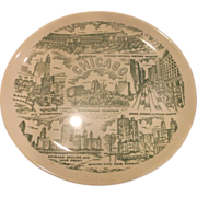 Chicago Souvenir Plate Green Transferware