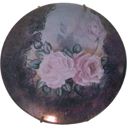 SALE Hand Painted Pink Roses Porcelain Plate Decorative