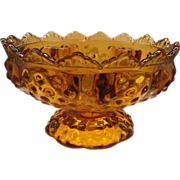 SALE Fenton Colonial Amber Hobnail Candle Bowl