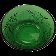 SOLD Forest Green Sandwich Dessert Bowl Anchor Hocking