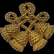 Rope Tassel Knot Brooch Pin Gold Tone