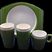 New-Mar Spring Green White Plastic Dish Set
