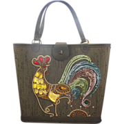 Green Rooster Embellished Sequins Canvas Bucket Purse