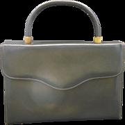 Triangle New York Grey Leather Box Kelly Style Handbag