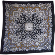 Echo Black Grey Gold White Paisley Silk Scarf Square 30""