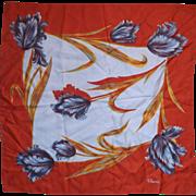 """Paoli Orange Blue Grey Floral Scarf 26"""""""