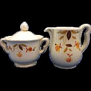 Hall Autumn Leaves Jewel Tea Cream & Sugar