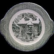 Old Curiosity Shop Green Tab Handle Cake Plate Royal China