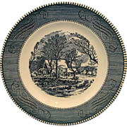 Currier & Ives Blue Royal China Old Grist Mill Lunch Plate