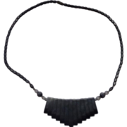 Hematite Bead Fringe Necklace Barrel Clasp