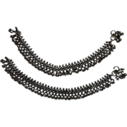 Tribal Silver Anklets Pair Bells Indian Subcontinent