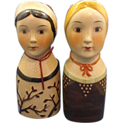 Head Vase Wall Pocket Pair Ladies Wearing Caps Moriage Enamel Accents Hand Painted