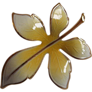 Yellow Guilloche Enamel Leaf Pin Gold Tone