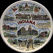 Indiana Souvenir Plate Multicolor Transferware