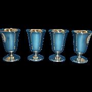 De Uberti Silver Plated Cordials Set of 4 EL Crown Mark