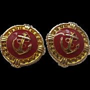 Nautical Anchor Red Enamel Gold Tone Earrings