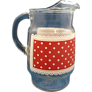 SOLD Red White Dot Decorated Clear Pitcher - Red Tag Sale Item