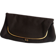 Ingber Brown Cloth Clutch Purse