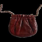 SALE Lee Sands Eel Skin Small Shoulder Bag Clutch Oxblood Burgundy