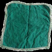 SOLD Green Cotton Handkerchief Tatted Lade Edge Hem