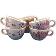 SOLD Shenango Red Pink Willow Coffee Cups Set of 6