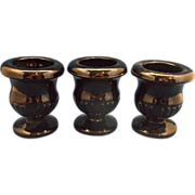 SALE Tiara Exclusives Black Glass Mini Urns Toothpick Holders