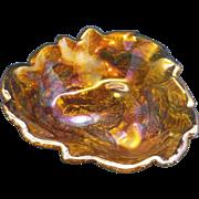 SOLD Indiana Glass Loganberry Marigold Carnival Bon Bon Bowl Triangle Dish