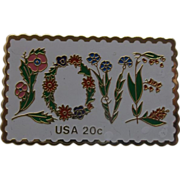 SALE LOVE Floral 20 Cent Stamp Pin Jayne Co.
