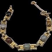 Jade Multicolor Oval Cabs Link Bracelet 12KT Gold Filled ONCI
