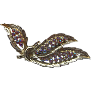 Pink Aurora Borealis Rhinestone Pin Gold Tone Leaves Feathers