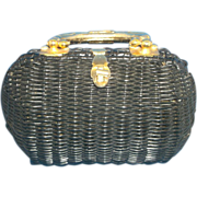 British Hong Kong Vinyl Coated Wicker Basket Purse Handbag Brass Handle