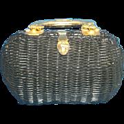 British Hong Kong Vinyl Coated Wicker Basket Purse Handbag Brass Handle