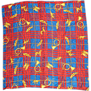 """Adrianna Papell Blue Red Gold Plaid Silk Scarf 34"""""""