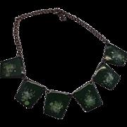 Green Enamel Copper Tile Necklace Modernist Germany
