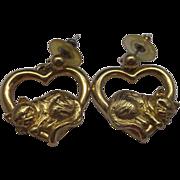 Avon Heart Sleeping Kitty Cat Earrings