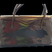 SALE Lennox Navy Blue Trapezoid Patent Handbag Purse